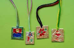 Easy embossed foil pendants for kids to make. 1 day fill-in lesson.