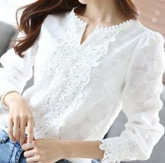 2017 New Autumn Spring Casual Basic Women Lace Chiffon Blouse shirts Solid Tops White blusas Long sleeve OL Embroidery Big size Grey Evening Dresses, Evening Dresses Plus Size, Elegant Woman, Lace Tops, Blouses For Women, Long Sleeve Tops, Style, Fashion Blouses, Women's Fashion