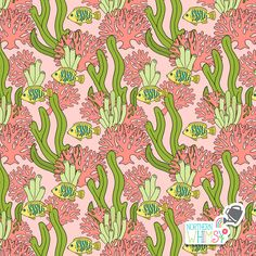 A closer look at one of the pink and green coral, seaweed, and tropical fish patterns from Northern Whimsy's Coral Reef collection. Fish Patterns, Tropical Fish, Surface Pattern, Seaweed, Pink And Green, Closer, Super Cute, Coral, Wallpapers