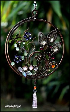 REDUCED!! Spring Fantasy Garden...Gems and Wire Suncatcher with Dragonfly and Buzzy Bee
