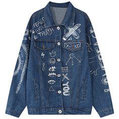 Chicnova Fashion Denim Girlfriend Jacket (€26) ❤ liked on Polyvore featuring outerwear, jackets, pattern jacket, blue denim jacket, denim jacket, blue jackets and print jacket