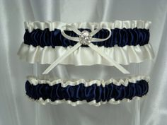 Ivory and Navy Blue Satin Garter Set by GarterBoutique on Etsy, $16.95
