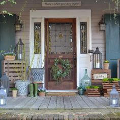 Cottage front porch all ready to greet guests in the nice spring weather!