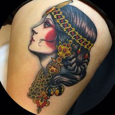 Like this style of gypsy woman,but a valkyrie with a winged head dress and braids in her ginger hair.