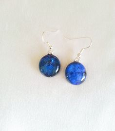 Blue Dichroic glass Earrings Dangle by LaposLewisCreations on Etsy