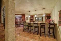 Barrel vaulted ceiling & walls of Venetian plaster - just beyond are the Wine Room & Cellar...