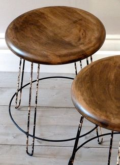 Pair of 1950's French Industrial Low Stools by OrmstonSaintUK
