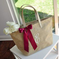 Pre-Order ONLY - Available in October: Initial Tote Bag for Bridesmaid Gift. Monogram Tote Bag with Zipper. Monogram Tote Bags, Personalized Tote Bags, Bridesmaid Bags, Bridesmaid Gifts Unique, Wedding Bridesmaids, Wow Products, Hair Products, Casual Bags, Gift Bags