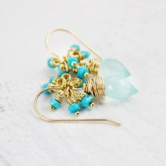 Light Aqua and Turquoise Gold Dangle Earrings