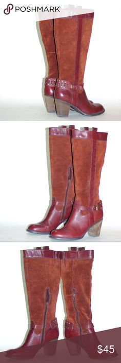 Knee High Harness Boots Leather Suede Heels UNWORN