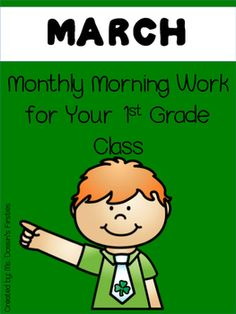 Morning work for 1st grade for the month of March! This pack includes 22 pages of morning work aligned to the Common Core! The pages are split into weeks and each day builds upon each other. If you're interested in morning work for the whole year click HERE and save 20%!Topics include:- Sight Words- Balancing Addition Equations- Sentence Editing (Capitalization and Punctuation)- Shapes (Counting number of sides)- Rhyming words- Counting tally marksMake to sure to grab my other morning work…