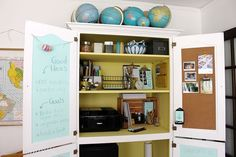 Chalkboard and corkboard inside closet doors