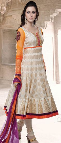 #Cream Jacquard Readymade #Churidar #Kameez