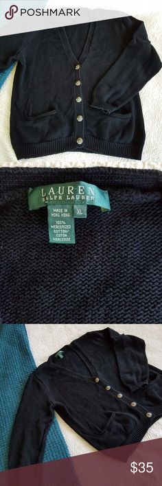 Vintage Ralph Lauren Cardigan Vintage sweater with beautiful flower buttons  Great condition - washed and well-loved! Measurements in photos SHIPS FAST! Ralph Lauren Sweaters Cardigans