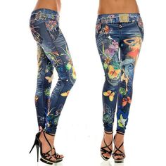 Punk Style Womens Butterfly Flower Printed Imitation Jeans Elastic Ankle-length Slim Faux Denim Pencil Pants Sexy Leggings