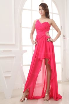Romantic Single Shoulder Fully Ruched High-Low Dress $139.98