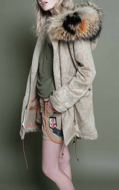Natural Wool Coat Moire Parka by MR & MRS ITALY for Preorder on Moda Operandi