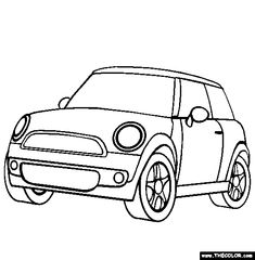 Free cars Coloring Pages. Color in this picture of an Mini Cooper and others with our library of online coloring pages. Save them, send them; they're great for all ages. Super Mario Coloring Pages, Cars Coloring Pages, Online Coloring Pages, Coloring Books, Mini Cooper Models, Winnie The Pooh Cartoon, Cardboard Car, Mini Doodle, Doodle Characters