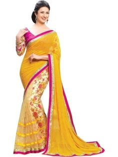 Yellow Lace Work Faux Georgette Designer Saree By Reda - Buy Yellow Georgette Lace Work Embroidered Saree For only Rs.542 from Godomart Online Shopping Store India. Shop Online for Best Saree Collection Only at Godomart.com