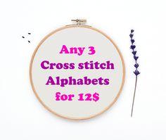 SALE! Any 3 cross stitch alphabet for 12 dollars, Cross stitch alphabet pattern sale by evascreation on Etsy