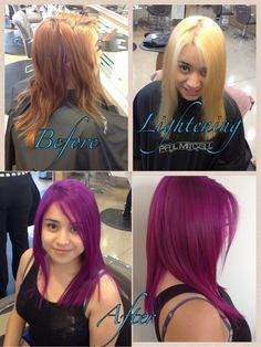 By Darlene Burnham. 1st pre lighten with p m  syncro lift 30 vol  Colored with Paul Mitchell violet & hot pink ink  #before & after #lavender @BLOOM.COM