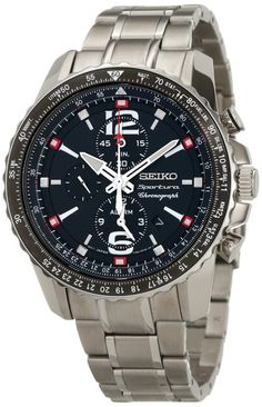 Seiko men watches : Seiko Men's SNAE95 Analog Japanese-Quartz Silver Watch