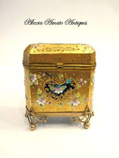 Antique vintage Moser 19th Century Casket box with unusual turquoise interior.  Approx. 4 inches wide,3-1/2 inches tall.