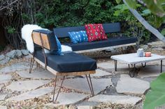 granite slab and hairpin legs table!!!   Lauren & Danny's Calm, Comfortable California Cottage
