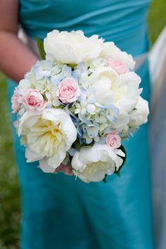 .pastel white peonies, blue hydrangea, pink roses