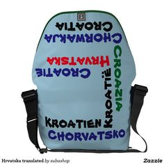 Croatia, Kroatie, gadgets, produkten, souvenirs, I love Croatia, bag, schoolbag, Hrvatska, translated postman tassen