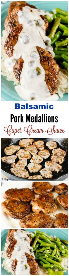 Balsamic Pork Medallions with Caper Cream Sauce is quick and easy and can be on the dinner table in 30 minutes for a delicious weeknight dinner. Recipes With Pork Chunks, Shredded Pork Recipes, Pork Shop Recipes, Pork Sausage Recipes, Pork Cutlet Recipes, Sirloin Recipes, Pork Gravy Recipe, Entree Recipes, Cooking Recipes