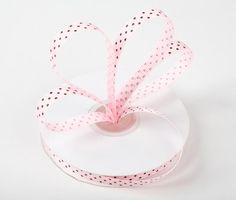 pink and brown polka dot ribbon