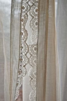 vintage pair of fine net curtains with crochet por mamaleanne22