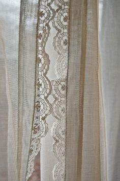 vintage pair of fine net curtains with crochet por mamaleanne22