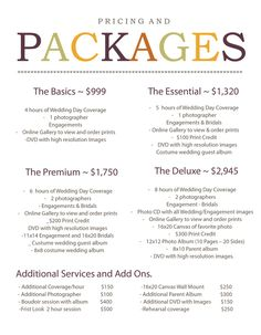 Introducing 2014 Wedding Photography Pricing and Packages.Introducing 2014 Wedding Photography Pricing and Packages. Photography Price List, Photography Contract, Wedding Photography Pricing, Photography Templates, Wedding Photography Packages, Photography Marketing, Wedding Photography Poses, Photography Business, Digital Photography