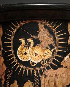 Dragon-chariot of Medea, Lucanian red-figure krater B., Cleveland Museum of Art Ancient Greek Art, Ancient Greece, Ovid Metamorphoses, Greek Pantheon, Greek Tragedy, Greek Pottery, Cleveland Museum Of Art, Cleveland Ohio, Minoan