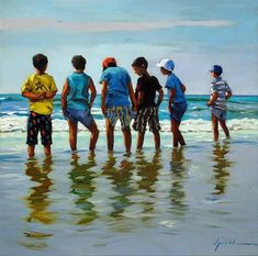 """Daily Paintworks - """"The Boys of Summer"""" - Original Fine Art for Sale - © Karin Jurick Painting People, Figure Painting, People Figures, Family Painting, Fine Art Gallery, Figurative Art, Boys, Artwork, Watercolor Painting"""