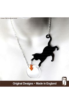 Cat and fish necklace made from Perspex found on Etsy