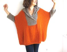 Your place to buy and sell all things handmade Plus Size Hand Knitted Sweater with Hoodie- Beige- Orange - Poncho - Tunic - Dress by Afra Hand Crochet, Hand Knitting, Knit Crochet, Vogue Knitting, Finger Knitting, Knitting Machine, Vintage Knitting, Crochet Granny, Hand Knitted Sweaters