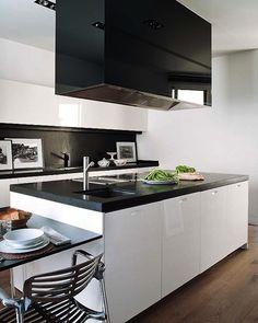 Черно-белый кухни, дизайн