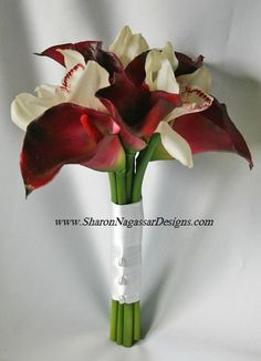 "Toss, Maid of Honor or Bridesmaids bouquet: White/Off-white Real Touch calla lilies, Red/Deep Red/Crimson calla lilies with silver/crystal accents     Size: 12.5"" tall, 9"" wide"