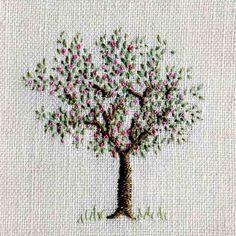Apple Blossom embroidery by Jo Butcher