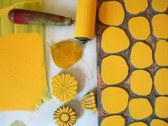 Jeanne McGee stamping in yellow.