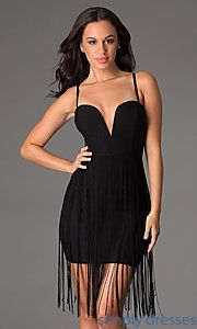 Buy Short Spaghetti Strap Dress with Fringe at SimplyDresses