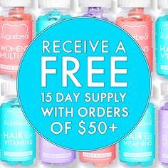 FREE 15 day supply with orders of $50+ Sugar Bear Hair, Sugar Bears, Vegan Gummies, Hair Vitamins, Revolutionaries, Free, Vitamins For Hair