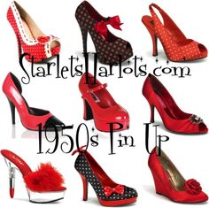 """Red Vintage Style Shoes"" by starlets-harlots on Polyvore"