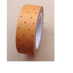 Ruban Washi Tape  ♥ 15mm ♥ 10 mètres ♥ Dore avec étoiles rouge  : Masking tape par la-folie-du-ruban