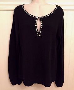 $13.50 Buy it Now with FREE SHIPPING!! Nicole Miller Size Large Black Knit Top Embellished Long Sleeve 100% Cotton #NicoleMiller #KnitTop #Casual