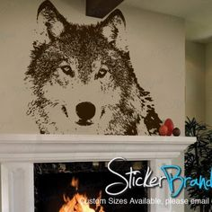 Vinyl Wall Art Decal Sticker Wolf Face | stickerbrand - Housewares on ArtFire