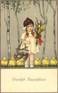 Netherlands 1922 - Vintage Easter Postcard